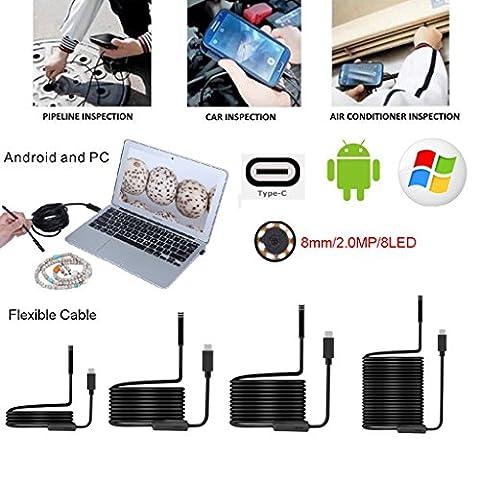 Dairyshop Flexible 8mm/USB de type C endoscope Caméra d'inspection HD