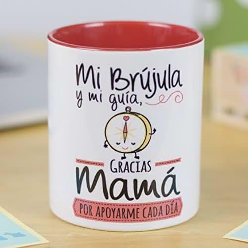 ofertas para el dia de la madre La Mente es Maravillosa | Taza cerámica de café o desayuno | Regalo original para MADRE | Mi brújula y mi guía, gracias mamá por apoyarme cada día | RESISTENTE 100% al microondas y lavavajillas | Taza con mensaje divertido para mamá | BONITA y EXCLUSIVA | Esmaltado brillante de GRAN CALIDAD | Frases y dibujos creativos grabados en la superficie | Perfecta para cualquier bebida, infusión o té | Mamá brújula