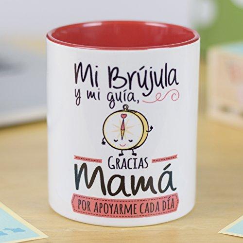 La Mente es Maravillosa | Taza cerámica de café o desayuno | Regalo original para MADRE | Mi brújula y mi guía, gracias mamá por apoyarme cada día | RESISTENTE 100% al microondas y lavavajillas | Taza con mensaje divertido para mamá | BONITA y EXCLUSIVA | Esmaltado brillante de GRAN CALIDAD | Frases y dibujos creativos grabados en la superficie | Perfecta para cualquier bebida, infusión o té | Mamá brújula