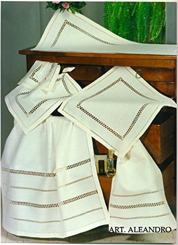 Reinigungstuch mehr Gästehandtuch Aleandro aus 100% reinem Leinen Antik Bestickt Hand Made in Italy 70x 110+ 40x 70cm -
