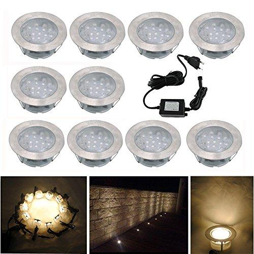 10x Lampe de Spot Encastrable LED pour Terrasse Enterre Plafonnier, DC12V IP67 Etanche Ø60mm Acier inoxydable Exterieur luminaire + Alimentation EU, Eclairage Décoration pour Jardin Chemin Couloir, Blanc Chaud