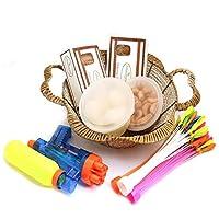 Ghasitaram Gifts Holi Hampers: Brown Basket of Gujiyas, Chocolate Gujiya, Mini Gujiyas, Fresh Rasgullas Pack, Magic Ballons and Water Guns