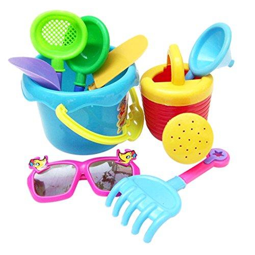 (D Dolity 9-teilig Kinder Kunststoff Sandspielzeug Strandspielzeug für Kinder Sandkasten Spiel - Zufällige Farben)