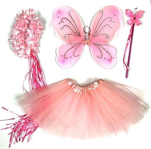 Kostüm Fee Flügel - Tante Tina - Schmetterling Kostüm für Mädchen - 4-teiliges Set - Feenflügel / Schmetterlingsflügel Verkleiden - Rosa mit Haarkranz
