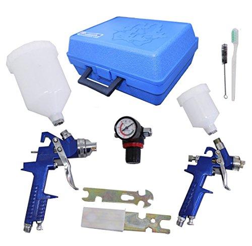 4 Werkzeug-set (2 x HVLP Lackierpistole Spritzpistole 1,4mm/0,8mm Set Koffer Manometer, Werkzeug und 2 Becher für Autolack und Airbrush)