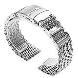 22mm Breite Armband Klappschließe mit Sicherheit Shark Mesh Edelstahl Band für Herren Armbanduhr