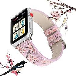 X-Cool Apple Watch Bracelet 38mm 40mm Violet Fleur de Prunier Cuir Bracelet de Remplacement pour Femme pour Apple Watch Series 4 3 2 1