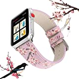 X-cool für Apple Watch 38mm 42mm Armband, Schwarze Pflaumenblüte Leder Armband für Damen Frauen, für iwatch Series 3 Series 2 Series 1 (38mm, Lila Blume)