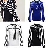 Search : Toamen Women's Fashion Shirt Top, Newest Fashion Women Girls Tie-Bow Neck Striped Long Sleeve Splicing Shirt Blouse, Size S-XXL
