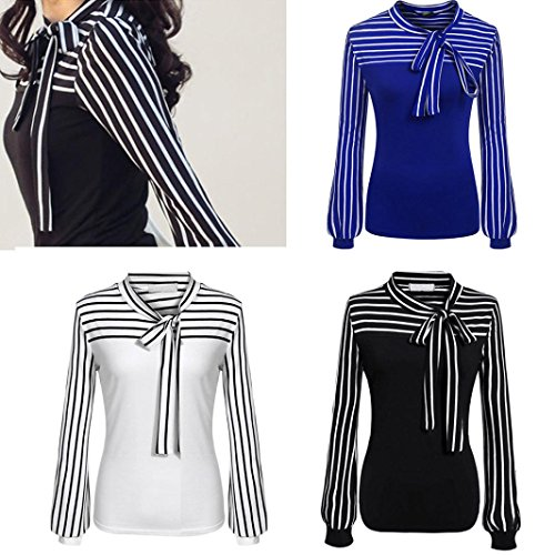 Toamen Women's Fashion Shirt Top, Women Girls Tie-Bow Neck Striped Long Sleeve Splicing Shirt Blouse, Size S-XXL