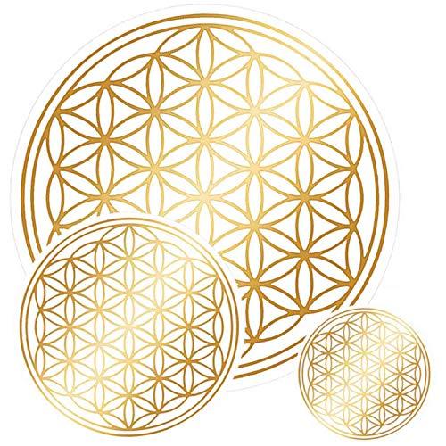 atalantes spirit Blume des Lebens Aufkleber Set M - Farbe Gold, 3x3, 2x5, 1x9cm, Folie durchsichtig Sticker Lebensblume