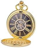 KS Reloj de Bolsillo con Cadena Hombres Vintage Steampunk Esqueleto Mecánico con Caja de Regalo Dorado KSP034