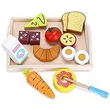Yissvic Fruits Légumes Jouets 10Pcs Jouets à Découper Jeu Imitation Cuisine Bois Magnetique Jeux Cuisine en Bois pour Enfants 3 4 5 6 7 Ans
