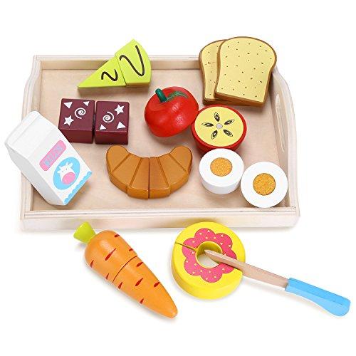 Yissvic Giocattolo Taglio Bambini in Legno 11pcs Gioco Educativo Taglio Frutta e Finti Alimenti Regalo per Bambini Giocattolo Testati Sicuri