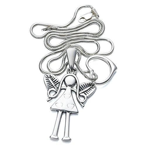 Dreiteiliges hochwertiges Silber-Schmuck-Set Mädchen Silberengel +Herz Anhänger + Schlangenkette + Schmucketui #1045