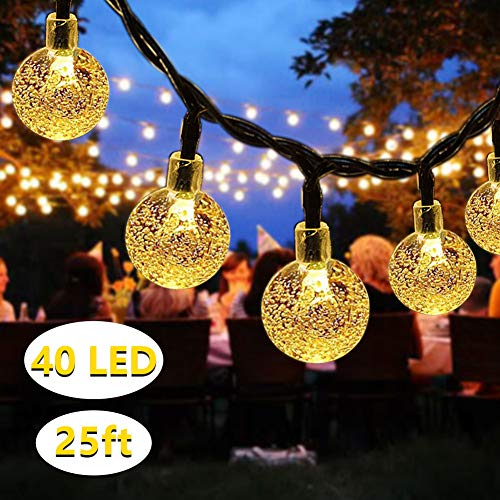 Solar String Lights, DeepDream 40 LED 7.5M/25Ft Waterproof Indoor Outdoor Festival Lights Crystal Ball Decorative Fairy Lights for Garden Patio Yard Home Wedding Christmas Parties,Warm White