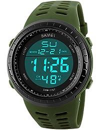 Sunjas Reloj Deportivo de Pulsera Resistente al Agua Digital LED Alarma Calendario Reloj para Hombre Mujer- Color de Verde Militar