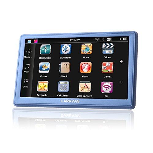 7 Zoll 8GB 128MB LCD Touchscreen Navi, CARRVAS Auto, Taxi, KFZ, LKW, PKW Navigationsgerät, GPS Navigation, Kfz Navigationssystem mit neuesten Europa und UK Karten, Kostenlose unbeschränkte Kartenupdates, Verkehr Benachrichtigung, TF Karte 8GB 128MB