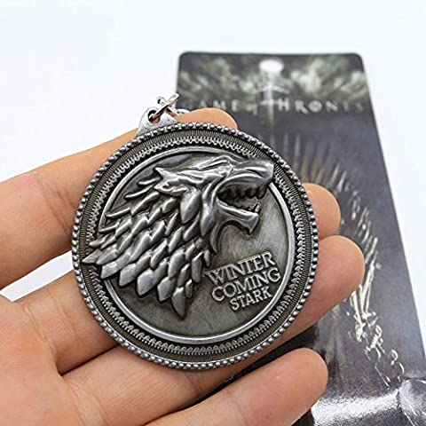 Game of Thrones Keyring - House Stark - Antique Silver