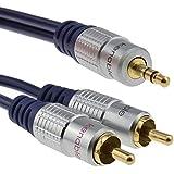 Pur HQ cuivre desoxygéné 3,5 mm Stéréo Jack Vers 2 RCA Cinch Fiches câble Plaqués Or 3 m