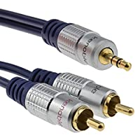 kenable Pure HQ OFC 3.5mm Stereo Jack to 2 RCA Phono Plugs Cable Gold 3m