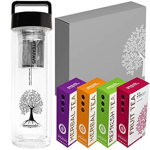 amapodo Tee Geschenke für Frauen und Männer - Geschenkbox Geschenkset Angebot, nachhaltige Geschenkidee mit Früchtetee, Kräutertee, Glas Trinkflasche