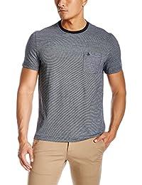 Original Penguin Homme Feeder Striped Logo Pocket T-Shirt, Bleu