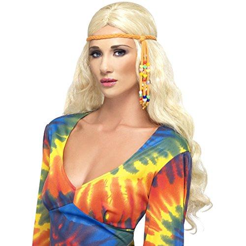 Hippie Haarband 60er Jahre Stirnband geflochten, mit Perlen 70`s Damen Haarschmuck Kopfband Haar Schmuck Mottoparty Kostüm Accessoire