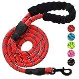 Roblue Hunde Leinen Rot Nylon rund Hundeleine für Mitteloder Große hunde passend zu Halsband oder Geschirr