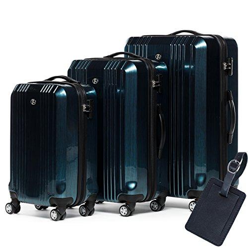 FERGÉ Dreier Kofferset Leder Adressanhänger CANNES Trolley-Koffer leicht Reisekoffer NEU | Set 3-teilig Hartschalenkoffer 4 Zwillingsrollen (360°) | Koffer...