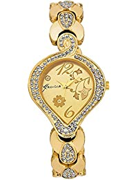 Rich Club Oval Gold Plated Analog Watch For Woman And Girls