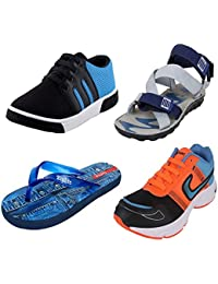 Earton Men Combo Pack of 4 Casual Shoes With Sandal, Flip-Flops & Sports Shoes