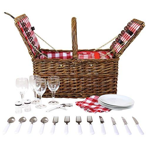 Picknickkorb-Set - Weidenkorb-Koffer mit doppeltem Deckel - für 4 Personen
