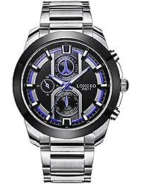 Ilove EU de hombre reloj de pulsera Sport Reloj analógico de cuarzo 3ATM impermeable LED luz acero inoxidable plata Luxus elegante whlb015