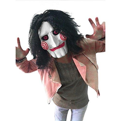 JIGSAW SAW Maske mit Kunsthaaren - perfekt für Fasching, Karneval und Halloween - Kostüm für Erwachsene - Latex, Unisex Einheitsgröße