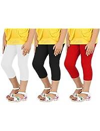 Goodtry Girl's Cotton Capri Pack of 3-Red-White-Black