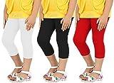 #5: Goodtry Girl's Cotton Capri Pack of 3-Red-White-Black