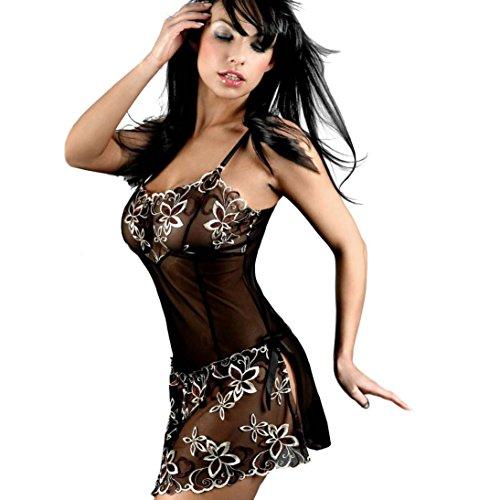 YunYoud Damen Erotisch Spitze Perspektive Unterwäsche Bowknot Korsett Einfarbig Drucken Nachtwäsche Harness Kleid (XXXXXXL, Schwarz)