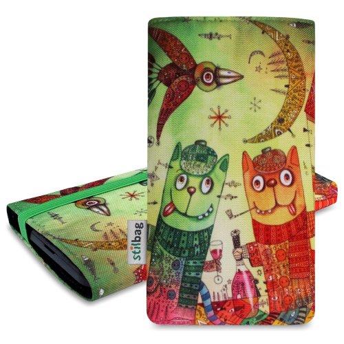 Stilbag Tasche 'MIKA' für Apple iPhone 5 - Design: Abstract Green Tipsy Cats