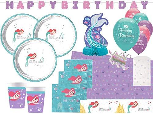 XXL 54 Teile Disney Arielle die Meerjungfrau Deluxe Glitzer Party Deko Set für 8 Kinder