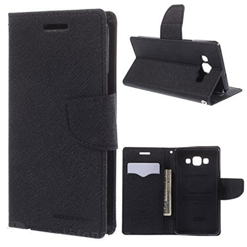 Cedo Stylish Luxury Mercury Magnetic Lock Diary Wallet Style Flip Cover Case for Samsung Galaxy On7 Pro and On7 (Black)