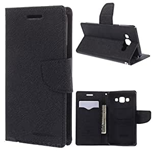Kshiv Enterprises Mercury Goospery Fancy Diary Wallet Case Cover for Samsung Galaxy On 7 (Black)