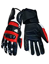 Red Vector Race Kevlar Leather Vented Motorcycle Gloves rp £62 (Med)