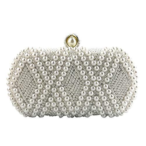 Linkay Sac à Main - Femmes Cristal Perlé Sacs à bandoulière de soirée pour chaîne Party Handbag (Blanc, Free)