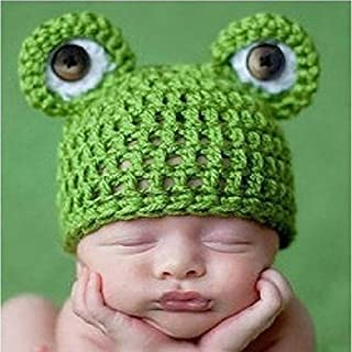 amyjazz Newborn Unisex Photo Studio Kid Baby Garment Handmade Cute Knitting Green Frog Hat
