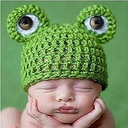amyjazz Gorro de rana para recién nacido, de ganchillo tejido a mano, unisex, ideal para sesiones de fotos de estudio, color verde