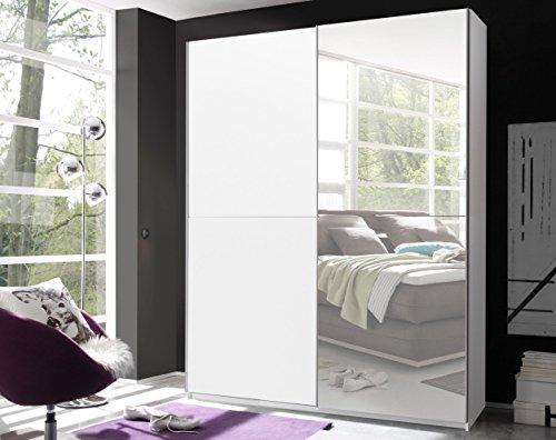 Schwebetürenschrank 'VICTOR 2' Kleiderschrank Schrank Schlafzimmer weiß Spiegel 170cm
