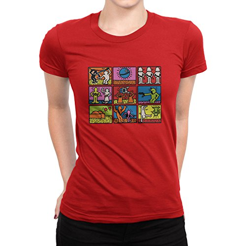 Planet Nerd - Star Art - Damen T-Shirt Rot