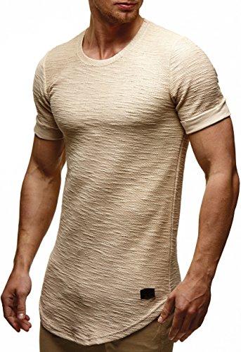 LEIF NELSON Herren oversize T-Shirt Hoodie Sweatshirt Rundhals Ausschnitt Kurzarm Longsleeve Top Basic Shirt Crew Neck Vintage Sweatshirt LN6324 S-XXL; Grš§e L, Beige