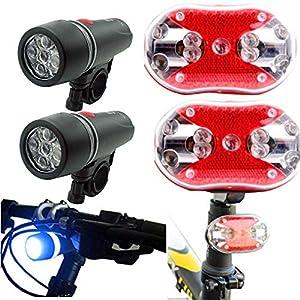 2 x 5 LED Fahrradscheinwerfer + 2 x 9 LED Rücklicht, Nourich Scheinwerfer Fahrradleuchte Fahrradbeleuchtung Fahrradlampe Fahrradlicht, Aufladbare Fahrradlichter